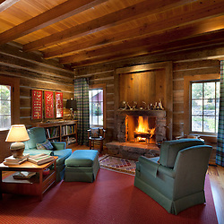 log cabin interior photograph