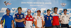September 21, 2017 - Alcaniz, Teruel, Spain - 42 Alex Rins (Spanish) Team Suzuki Ecstar Suzuki. #46 Valentino Rossi (Italian) Movistar Yamaha Motogp Yamaha.#4 Andrea Dovizioso (Italian) Ducati Team Ducati.#93 Marc Marquez (Spanish) Repsol Honda Team Honda .#25 Maverick Viñales (Spanish) Movistar Yamaha Motogp Yamaha. #9 Danilo Petrucci (Italian) Octo Pramac Racing Ducati.#19 Xavier Simeon (Bel) Tasca Racing Scuderia Moto2 Kalex .in the press conference before of the Gran Premio Movistar de Aragon of world championship of MotoGP. Circuit of Motorland Aragon in Alcañiz, Spain, 20th Sep 2017  (Credit Image: © Jose Breton/NurPhoto via ZUMA Press)