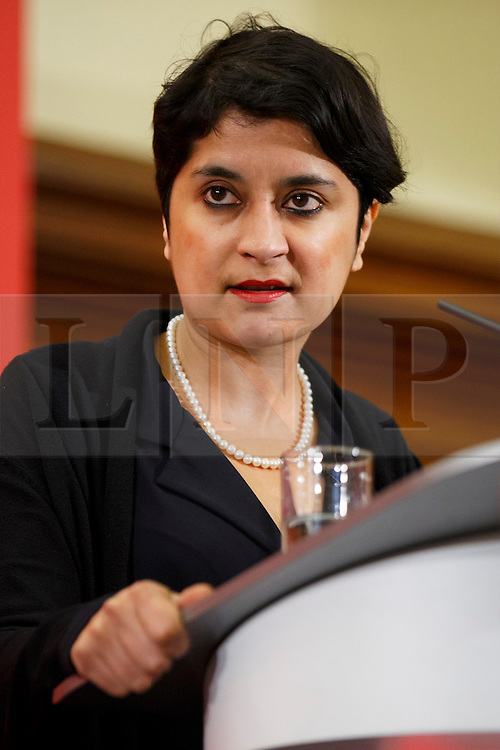 © Licensed to London News Pictures. 10/12/2016. London, UK. Shadow Attorney General Shami Chakrabarti introduces Labour leader and the leader of opposition Jeremy Corbyn ahead of his speech on human rights at the Methodist Central Hall in Westminster, London on Saturday, 10 December 2016. Photo credit: Tolga Akmen/LNP