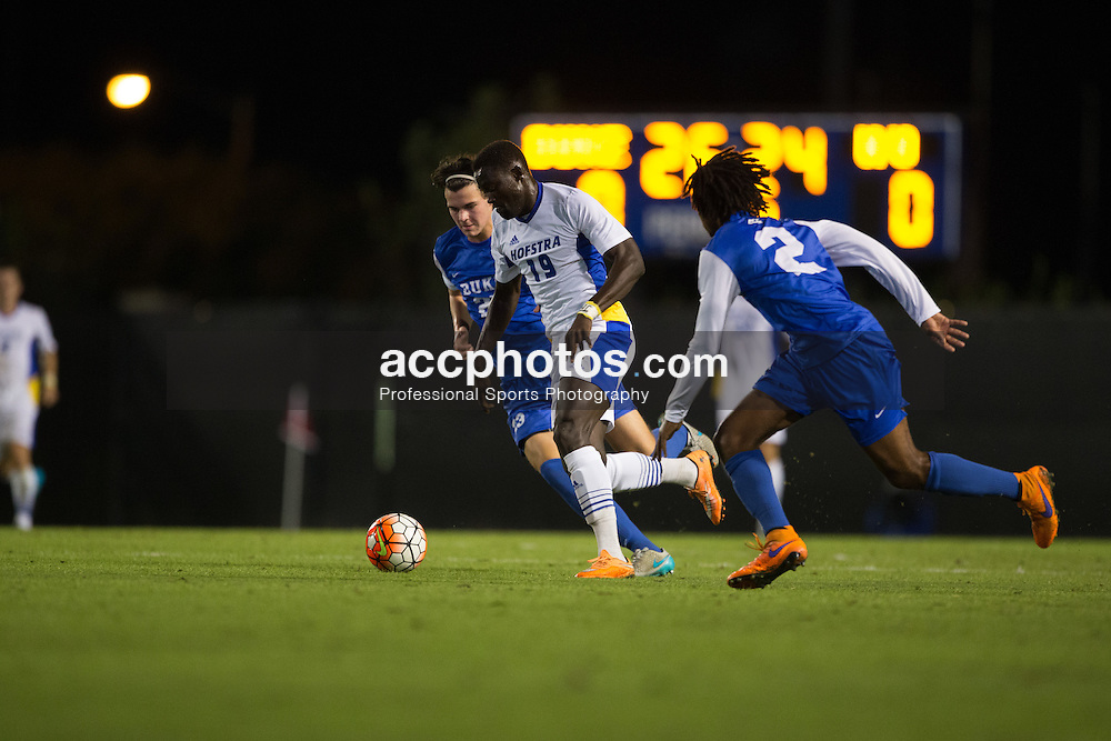 2015 October 05: Meshack Eshun Addy #19 of the Hofstra Pride during a 3-2 overtime loss to the Duke Blue Devils at Koskinen Stadium in Durham, NC.