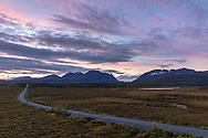 Sunset colors along the Denali Highway and Landmark Gap in Interior Alaska. Summer. Evening.