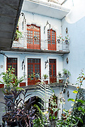 Interior courtyard of the Hotel Casa de la Palma Boutique in the historic city center of Puebla, Mexico.