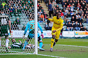 Oxford Utd's Cheyenne Dunkley celebrates after watching the ball go in the plymouth net for Oxford to take a 1-0 lead over Plymouth during the Sky Bet League 2 match between Plymouth Argyle and Oxford United at Home Park, Plymouth, England on 5 March 2016. Photo by Graham Hunt.