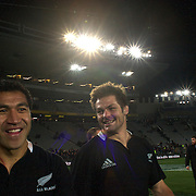 Mils Muliaina (left) and Richie McCaw celebrate after the  final whistle during the New Zealand V Australia Tri-Nations, Bledisloe Cup match at Eden Park, Auckland. New Zealand. 6th August 2011. Photo Tim Clayton