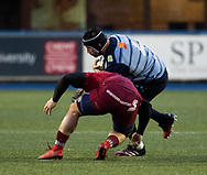 Cardiff Blues' George Earle is tackled by Munster's Chris Cloete<br /> <br /> Photographer Simon King/Replay Images<br /> <br /> Guinness PRO14 Round 15 - Cardiff Blues v Munster - Saturday 17th February 2018 - Cardiff Arms Park - Cardiff<br /> <br /> World Copyright &copy; Replay Images . All rights reserved. info@replayimages.co.uk - http://replayimages.co.uk