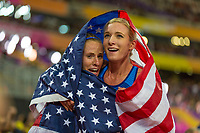 Athletics - 2017 IAAF London World Athletics Championships - Day Eight, Evening Session<br /> <br /> Womens 3000m Steeplechase Final<br /> <br /> Emma Coburn and Courtney Frerichs (United States ) celebrate after finishing in 1st and 2nd place  at the London Stadium<br /> <br /> COLORSPORT/DANIEL BEARHAM