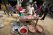 Tam Duong market. Butcher. Water buffalo intestines.