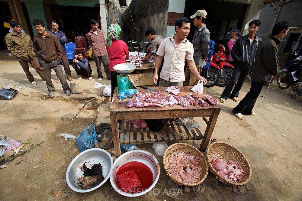 Tam Duong market. Butcher. Water buffalo intestines.