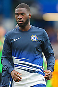 Chelsea defender Fikayo Tomori (29) warms up prior to the Premier League match between Chelsea and Liverpool at Stamford Bridge, London, England on 22 September 2019.