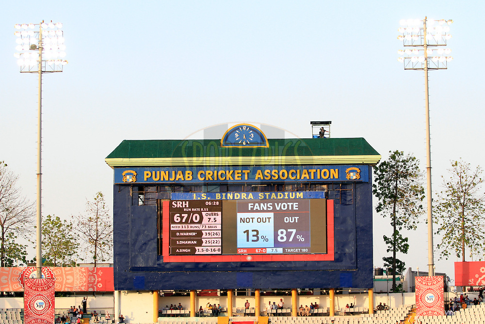 Fan votes on electronic screen during match 46 of the Vivo Indian Premier League ( IPL ) 2016 between the Kings XI Punjab and the Sunrisers Hyderabad held at the IS Bindra Stadium, Mohali, India on the 15th May 2016<br /> <br /> Photo by Arjun Singh / IPL/ SPORTZPICS