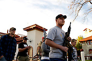 Andy Welch carries his rifle during an open carry long rifle march demonstrating their 2nd amendment right to keep and bear arms on Thursday, January 31, 2013 in Fort Worth, Texas. (Cooper Neill/The Dallas Morning News)