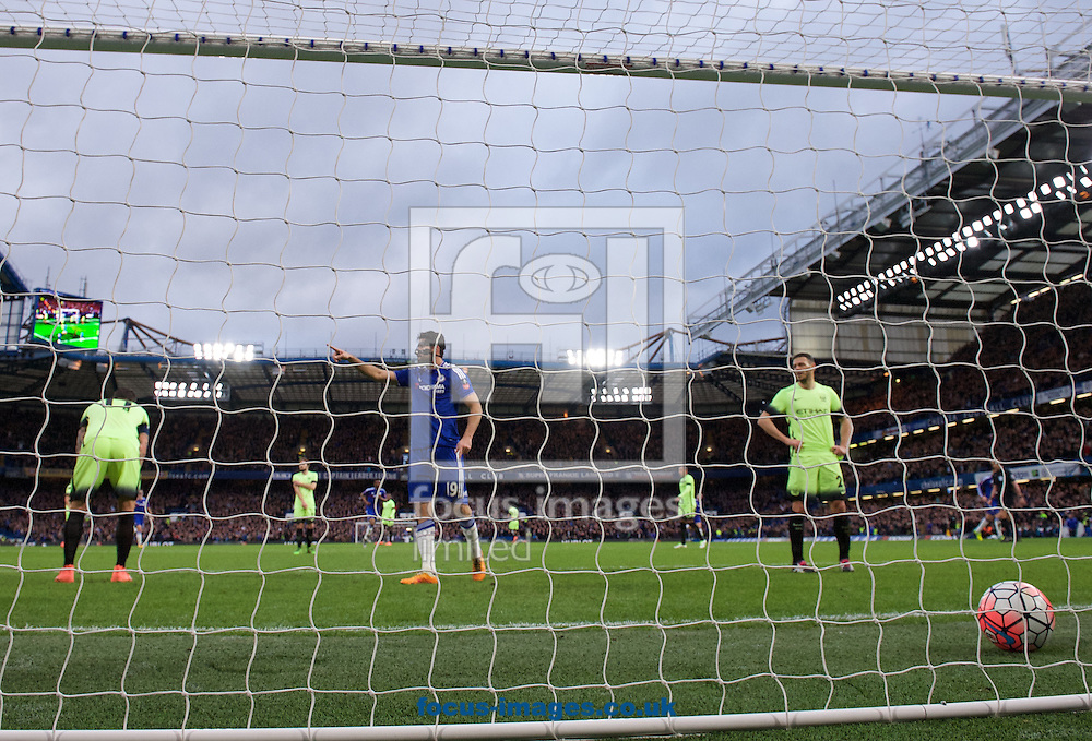 Diego Costa of Chelsea celebrates after scoring the opening goal with a diving header past goalkeeper Wilfredo Caballero during the FA Cup match at Stamford Bridge, London<br /> Picture by Alan Stanford/Focus Images Ltd +44 7915 056117<br /> 21/02/2016