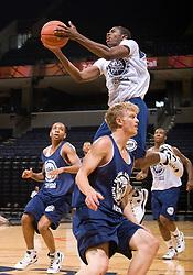2/1G Brandon Paul (Gurnee, IL / Warren ) shoots behind 2G Tyler Haws (Highland, UT / Lone Peak).  The NBA Player's Association held their annual Top 100 basketball camp at the John Paul Jones Arena on the Grounds of the University of Virginia in Charlottesville, VA on June 20, 2008