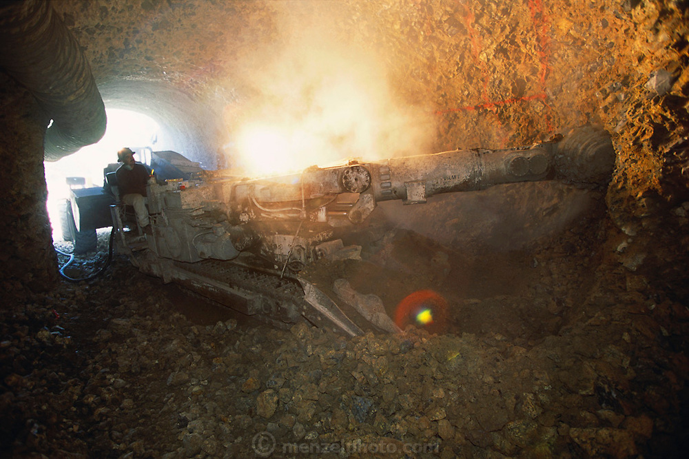 A cave drilling machine digging a cave in the Napa Valley, California.