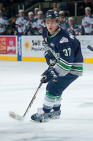 KELOWNA, CANADA -FEBRUARY 10: Russell Maxwell #37 of the Seattle Thunderbirds skates against the Kelowna Rockets on February 10, 2014 at Prospera Place in Kelowna, British Columbia, Canada.   (Photo by Marissa Baecker/Getty Images)  *** Local Caption *** Russell Maxwell;