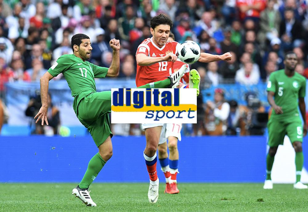 v.l. Taiseer Al-Jassam (Saudi Arabien), Yuri Zhirkov<br />Moskau, 14.06.2018, FIFA Fussball WM 2018 in Russland, Eroeffnungsspiel, Vorrunde, Russland - Saudi-Arabien<br /> Russland - Saudi-Arabia<br /> Norway only