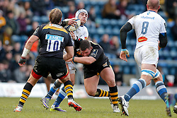Castres Olympique Fly-Half Daniel Kirkpatrick is tackled - Photo mandatory by-line: Rogan Thomson/JMP - 07966 386802 - 14/12/2014 - SPORT - RUGBY UNION - High Wycombe, England - Adams Park Stadium - Wasps v Castres Olympique - European Rugby Champions Cup Pool 2.