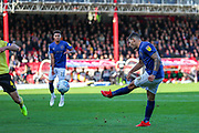 Brentford forward Nikolaus Karelis (9) shoots towards the goal during the EFL Sky Bet Championship match between Brentford and Millwall at Griffin Park, London, England on 19 October 2019.