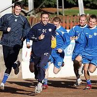 St Johnstone Training....02.02.07<br />Ex Falkirk players Owen Coyle and Kevin James enjoying themselves in training this morning before facing their old club in the Scottish Cup tomorrow.<br />see story by Gordon Bannerman Tel: 01738 553978 or 07729 865788<br />Picture by Graeme Hart.<br />Copyright Perthshire Picture Agency<br />Tel: 01738 623350  Mobile: 07990 594431