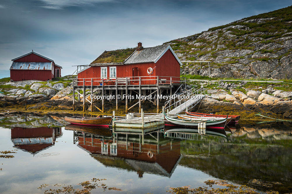 """Sor Gjaeslingan, Vikna, Trondelag, Norway, July 2015. Sør-Gjæslingan (South Duckling) Island lies to the south of Vikna island off the northwest coast of Norway to the north of Trondheim and south of Bronnoysund. This island is part of the """"Coastal Museum"""" while remaining an active fishing community, although not inhabited year round. Trøndelag lies at the heart of Norway's identity. The rolling hills of the interior with its traditional ox-blood coloured farm houses grow a wealth of produce. In the west the coastline is sculpted by a maze of fjords and islands home to small fishing communities. Photo by Frits Meyst / MeystPhoto.com"""