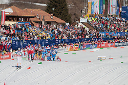 03.03.2013, Langlaufstadion, Lago di Tesero, ITA, FIS Weltmeisterschaften Ski Nordisch, Langlauf Herren, 50 km, im Bild the group after the start during the Men 50 km Cross Country of the FIS Nordic Ski World Championships 2013 at the Cross Country Stadium, Lago di Tesero, Italy on 2013/03/03. EXPA Pictures ©  2013, PhotoCredit: EXPA/ Federico Modica