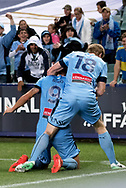 SYDNEY, NSW- NOVEMBER 21: Sydney FC forward Bobo (9) and Sydney FC forward Matt Simon (18) celebrate the goal at the FFA Cup Final Soccer between Sydney FC and Adelaide United on November 21, 2017 at Allianz Stadium, Sydney. (Photo by Steven Markham/Icon Sportswire)