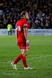 Bristol Rugby replacement Olly Robinson looks dejected after Worcester score a converted try with the last play of the game to draw the match 30-30 and win by 1 point over the two legs to deny Bristol promotion to the Aviva Premiership - Photo mandatory by-line: Rogan Thomson/JMP - 07966 386802 - 27/05/2015 - SPORT - Rugby Union - Worcester, England - Sixways Stadium - Worcester Warriors v Bristol Rugby - Greene King IPA Championship Play-Off Final 2nd Leg.