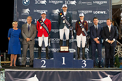 Podium GCT Antwerp<br /> 1. Simon Delestre, (FRA)<br /> 2. Hans-Dieter Dreher, (GER)<br /> 3. Edwina Alexander, (AUS)<br /> Grand Prix CSI 5*<br /> receiving the prizes from Mrs De Backer, Eric Thoelen (CEO Merrit Capital and President of Jumping Antwerp), Mr. Stefan D'Hondt (Longines BeLux) and Jan Tops<br /> Longines Global Champions Tour - Antwerp 2015<br />  © Hippo Foto - Dirk Caremans<br /> 25/04/15