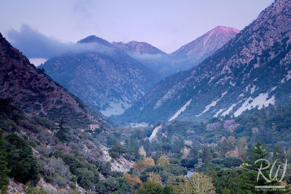 Fall Season Alpenglow, Mount Baldy Village, California
