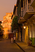 Colonial Balconies, Cartagena de Indias, Bolivar Department,, Colombia, South America.