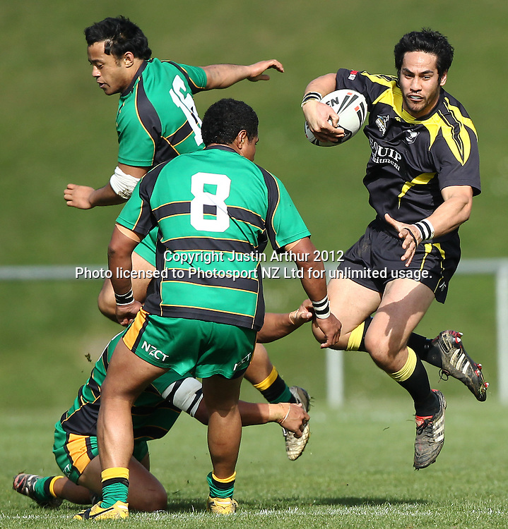 Matt Wanoa in action during the Pirtek National Rugby League Premiership 2012 - Wellington Orcas v Central Vipers at Porirua Park, Porirua, New Zealand on 25 August 2012. Photo: Justin Arthur / photosport.co.nz