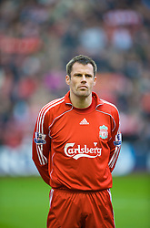 LIVERPOOL, ENGLAND - Saturday, March 15, 2008: Liverpool's Jamie Carragher before the Premiership match against Reading at Anfield. (Photo by David Rawcliffe/Propaganda)