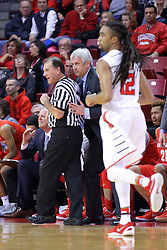 03 December 2016:  with .rm12 approaching, Craig Neal and referee Tom O'Neill try to squeeze past each other on the sideline during an NCAA  mens basketball game between the New Mexico Lobos the Illinois State Redbirds in a non-conference game at Redbird Arena, Normal IL