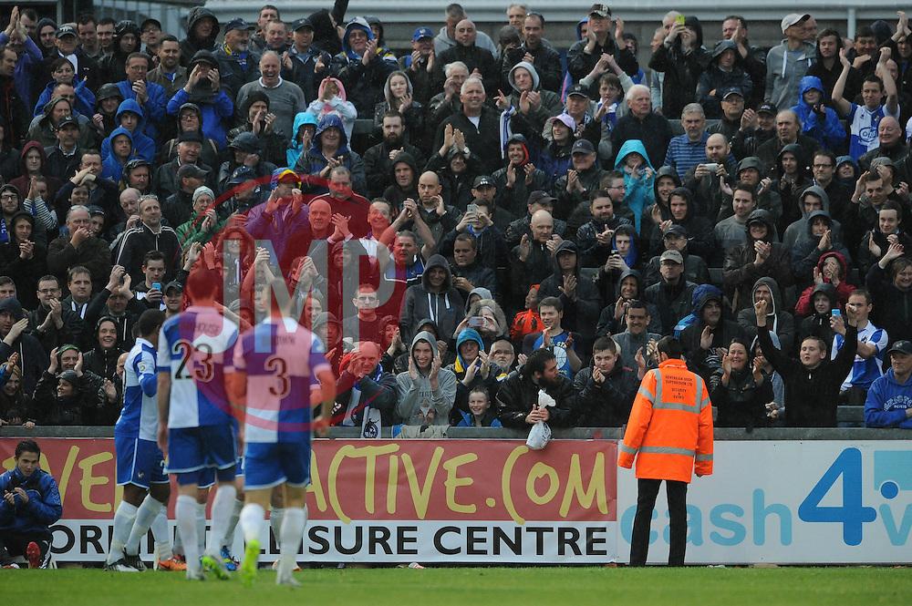 Bristol Rovers' Tom Parkes celebrates his goal in front of the home fans - Photo mandatory by-line: Dougie Allward/JMP - Mobile: 07966 386802 - 25/04/2015 - SPORT - Football - Bristol - Memorial Stadium - Bristol Rovers v Alfreton Town - Vanarama Football Conference