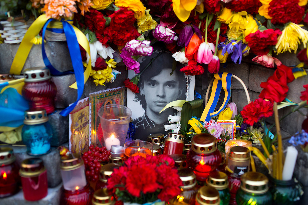 A memorial to a protestor killed during the Maidan protests is seen on February 22, 2015 in Kyiv, Ukraine.