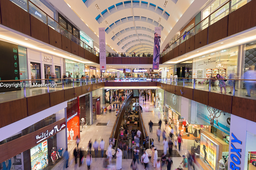 View of interior of busy Dubai Mall in United Arab Emirates UAE