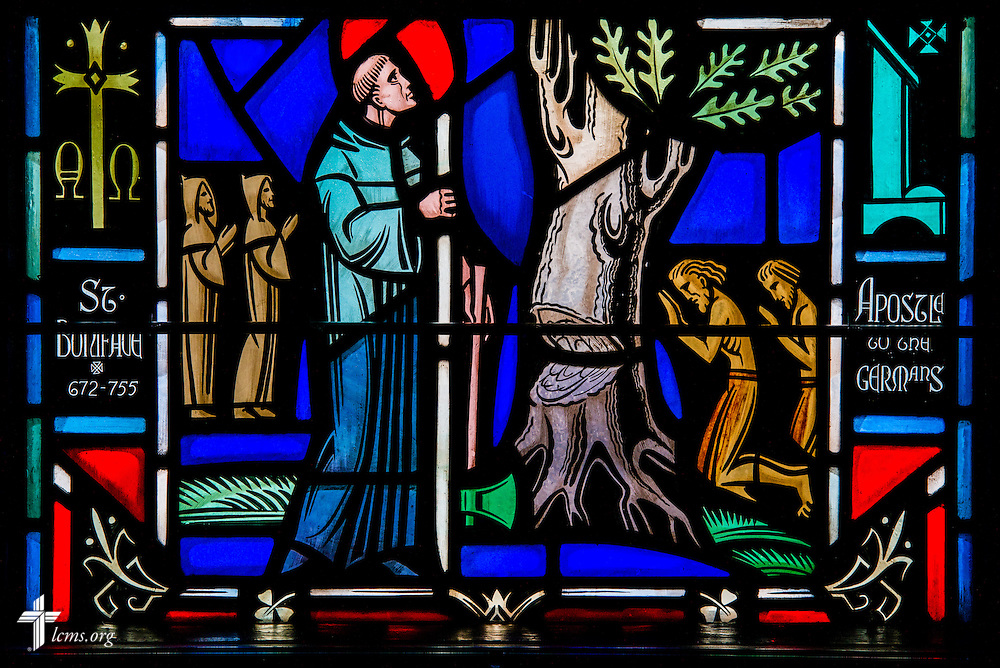 Stained glass at Luther Memorial Chapel depicts St. Boniface, 672-755, on Friday, Jan. 29, 2016, in Shorewood, Wis. LCMS Communications/Erik M. Lunsford