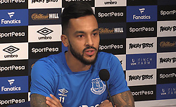 Screen grabbed image taken from PA Video of Everton new signing Theo Walcott during the press conference at Finch Farm, Liverpool.