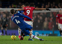 Football - 2019 / 2020 Premier League - Chelsea vs. Manchester United<br /> <br /> Andreas Christensen (Chelsea FC) loses his footing and slides into the back of Anthony Martial (Manchester United) at Stamford Bridge <br /> <br /> COLORSPORT/DANIEL BEARHAM