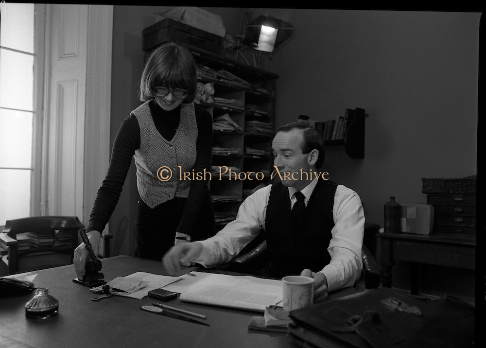 Patrick Pearse a film by Louis Marcus.    (N6)..1979..13.12.1979..12.13.1979..13th December 1979..A film on the Irish Patriot,Patrick was made by the Director, Louis Marcus.The film was to mark the centenary of Patrick Pearse's birth. The lead role was taken by renowned actor John Kavanagh.Others involved in the production were, Andy O'Mahoney, Niall Tobín,Denis Brennan and Derek Lord..Image shows the continuity girl ensuring that al the desk proks are positioned correctly.