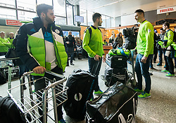 Rok Ticar, Jurij Repe and Ziga Pavlin during departure of Slovenia Olympic Team for PyeongChang 2018, on February 6, 2018 in Airport Joze Pucnik, Brnik, Slovenia. Photo by Morgan Kristan / Sportida