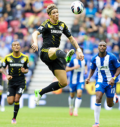 WIGAN, ENGLAND - Sunday, August 19, 2012: Chelsea's Fernando Torres in action against Wigan Athletic during the Premiership match at the DW Stadium. (Pic by Vegard Grott/Propaganda)