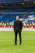 Diego Pablo Simeone, Atletico de Madrid coach, showing happiness with the attainment of the title