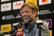 Jurgen Klopp during the Liverpool Press Conference before the International Champions Cup match between Manchester United and Liverpool at the Michigan Stadium, Ann Arbor, United States on 27 July 2018.