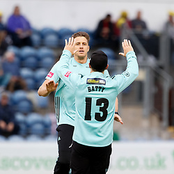 Surrey's Morne Morkel celebrates taking the wicket of Glamorgan's Craig Meschede<br /> <br /> Photographer Simon King/Replay Images<br /> <br /> Vitality Blast T20 - Round 14 - Glamorgan v Surrey - Friday 17th August 2018 - Sophia Gardens - Cardiff<br /> <br /> World Copyright © Replay Images . All rights reserved. info@replayimages.co.uk - http://replayimages.co.uk