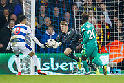 Queens Park Rangers goalkeeper Joe Lumley (13) makes a save during The FA Cup 5th round match between Queens Park Rangers and Watford at the Loftus Road Stadium, London, England on 15 February 2019.