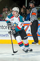 KELOWNA, CANADA -FEBRUARY 1: Colten Martin #8 of the Kelowna Rockets skates with the puck against the Kamloops Blazers on February 1, 2014 at Prospera Place in Kelowna, British Columbia, Canada.   (Photo by Marissa Baecker/Getty Images)  *** Local Caption *** Colten Martin; Cole Martin;