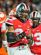 January 3, 2014 - Miami Gardens, Florida, U.S: Ohio State Buckeyes defensive end Jamal Marcus (34) celebrates  during the Discover Orange Bowl between the Clemson Tigers and the Ohio State Buckeyes at Sun Life Stadium in Miami Gardens, Fl