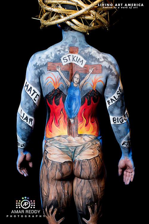 Living Art America::The Bodies Works of Art::The North American Body Painting Championship | A World Body-painting Association Sanctioned Event <br /> <br /> Artist: Keith Frutiger, <br /> Model:&nbsp;Badar,<br /> Photographer: Amar Reddy<br /> <br /> www.livingartamerica.com<br /> www.AmarPhotography.com