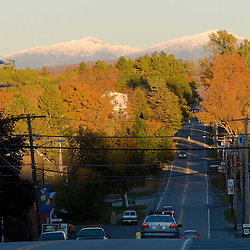Mount Washington rises above Main Street (US 302) in downtown Bethlehem, New Hampshire.